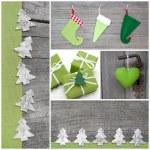 Handicraft christmas decoration in green — Stock Photo