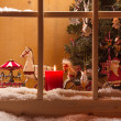 Christmas window sill decoration — Stock Photo