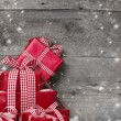 Christmas presents, with snow — Stock Photo