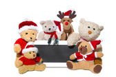 Teddy bears, elk and message board — Stock Photo