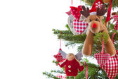 Christmas tree with hanging decoration — Stock Photo