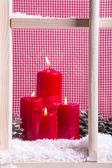 Indoor Christmas window sill decoration — Stock Photo
