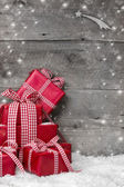 Christmas presents, with snow — Stok fotoğraf