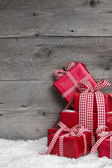 Pile of red Christmas gifts — Stock Photo