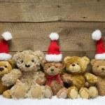 Teddy bears with Christmas hats — Stock Photo