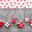 Red and white Christmas presents — Stock Photo #33608797