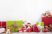 Christmas presents with teddy bears — Fotografia Stock