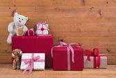 Christmas presents and with teddy bears — Stock Photo