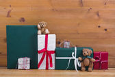 Presents and gift boxes with teddy bears — Stock Photo