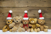 Teddy bears with Christmas hats — Foto Stock