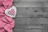 Wooden background for greeting card with heart — Stock Photo