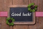Menu board with good luck message — Stock Photo