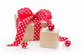 Christmas presents wrapped in paper — Stock Photo