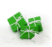 Green gift boxes for Christmas — Stock Photo