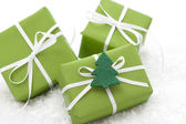 Gift boxes wrapped for Christmas — Stock Photo