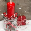 Christmas with red candle and gift box — Stock Photo