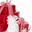 Stock Photo: Presents wrapped in red and white paper