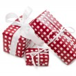 Presents wrapped in checkered paper — Stock Photo