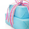 Present wrapped in blue paper — Stock Photo