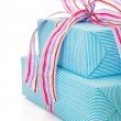 Stock Photo: Present wrapped in blue paper