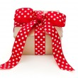 Present tied with ribbon for christmas — Stok fotoğraf