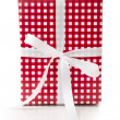 Stock Photo: Gift box wrapped in checkered paper