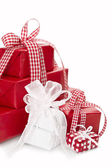 Presents wrapped in red and white paper — Photo