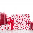 Red and white gift boxes — Foto de Stock