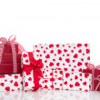 Red and white gift boxes — Stok fotoğraf