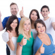 Good team work with happy thumbs up man and woman isolated on wh — Stock Photo