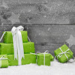 Green Christmas presents — Stock Photo