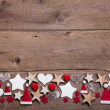 Christmas heart and stars decoration — Stock Photo