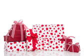 Red and white gift boxes — Stock Photo