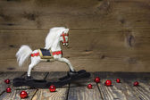Vintage - old wooden rocking horse — Stock Photo