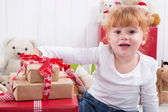 Little girl is happy on christmas - X-mas with children — Stock Photo