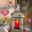 Rustic lantern with candlelights for christmas — Stock Photo