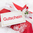 Stock Photo: Christmas present box with Germtext