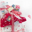 Three bebag with ribbon for christmas — Stock Photo #33727189