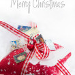 Stock Photo: Greeting card with text for christmas