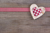 Red checked heart decoration — Stock Photo
