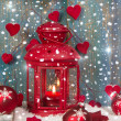 Lantern with candlelights and shnowflakes — Foto Stock