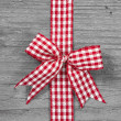 Red and white checked ribbon decoration — Стоковое фото