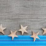 Shabby chic wood background with stars — Stock Photo