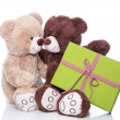Two teddy bears in love with present — Stock Photo