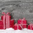 Stack of red Christmas gifts — Stock Photo