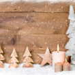 Wooden Christmas trees decoration — Stock Photo