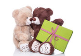 Two teddy bears in love with present — Foto Stock