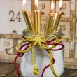 Four golden christmas candles — Stock Photo