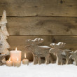 Wooden Christmas tree with elk, reindeer — ストック写真