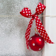 Christmas background with red ball — Stok fotoğraf